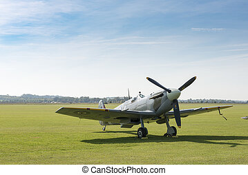 RAF Spitfire Fighter Plane on the Ground - RAF Spitfire...
