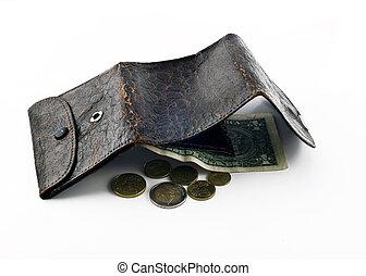 rafelig, geopend, leder, dollar, een, portemonaie, veranderen, obligatie