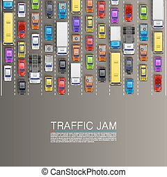 raffic jam on the road. Vector background
