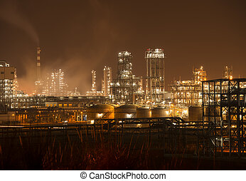 raffinaderi, faglig plante, hos, industri, kedel, nat hos