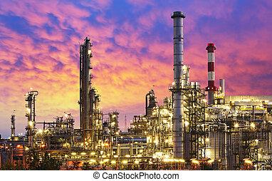 raffinaderi, industri, olja, -, fabrik
