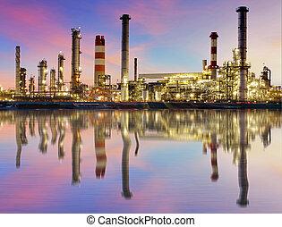 raffinaderi, industri, olja, -, växt