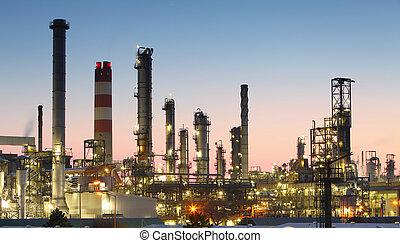 raffinaderi, skymning, olja, -, fabrik