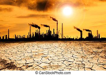 raffinaderij, met, rook, en, globaal verwarmend, concept