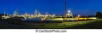 raffinaderij, panorama, op de avond