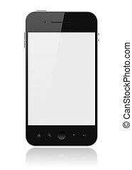 raffineret, telefon, hos, blank skærm, isoleret