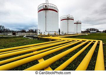 raffineria, grande, olio, serbatoi