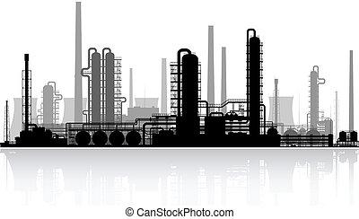 raffineria, olio, illustration., vettore, silhouette.