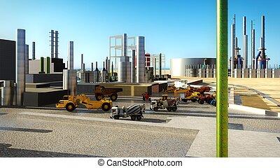 raffineria, olio, macchine