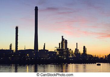 raffineria petrolio, a, tramonto