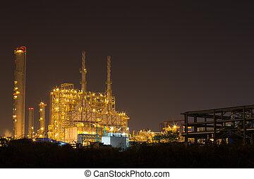 raffineria petrolio, pianta industriale, notte
