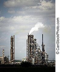 raffineria, pianta, industria olio