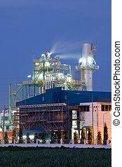 raffineria, pianta, industria olio, caldaia