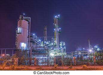 raffineria, pianta industriale, con, industria, caldaia, notte