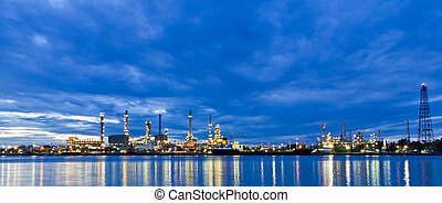 raffineria, pianta, olio, bangkok, lungo, fiume