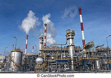 raffineria, pianta, olio