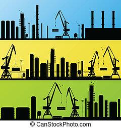 raffineria, stazione, vettore, fondo, olio
