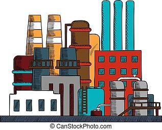 raffinerie, bâtiments, industriel, ensemble, usine