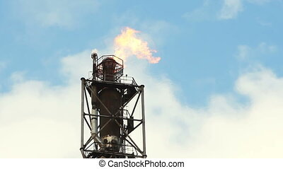 raffinerie, brûler, torche, essence