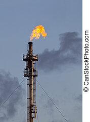 raffinerie, brûler, torche