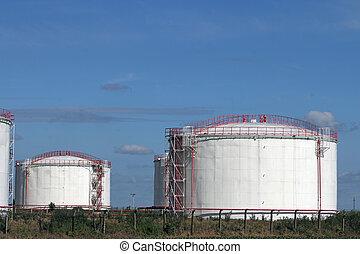 raffinerie, champ, industrie, huile, réservoirs