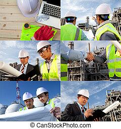 raffinerie, collage, huile, ingénieur