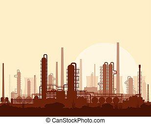 raffinerie, coucher soleil, huile, essence