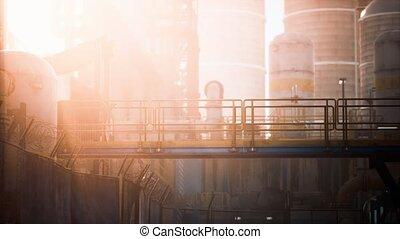 raffinerie, crépuscule, essence, huile