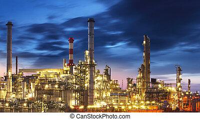 raffinerie, crépuscule, huile, -, usine