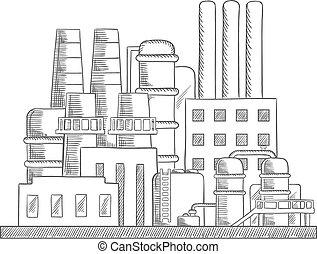 raffinerie, croquis, industriel, usine, vecteur