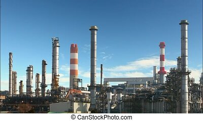 raffinerie, défaillance, huile, -, temps