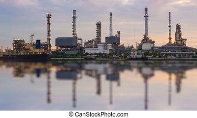 raffinerie, défaillance, station, huile, temps