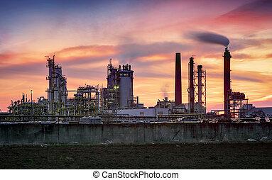 raffinerie, dramatique, crépuscule, huile