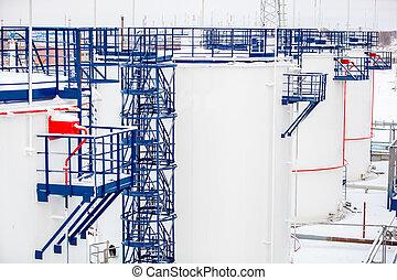 raffinerie, emmagasinage pétrole, usine, réservoirs