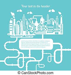raffinerie, essence, naturel, produire, schématique