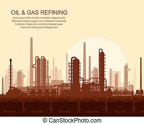 raffinerie gaz, coucher soleil, huile