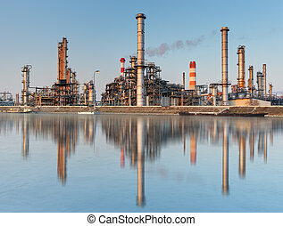 raffinerie, grand, huile, ciel, fond