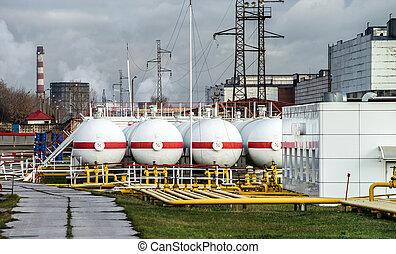 raffinerie, grand, huile, réservoirs