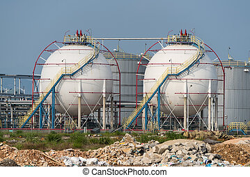 raffinerie, grand, industriel, réservoirs, huile
