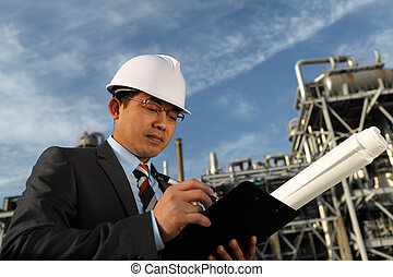 raffinerie, homme affaires, huile, fond
