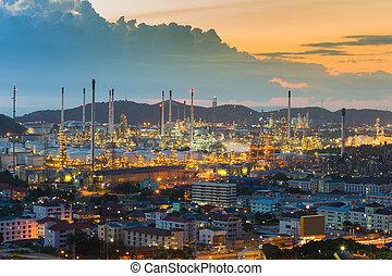 raffinerie, huile, aérien, vue