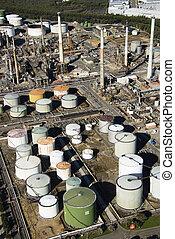 raffinerie, huile, aerial.