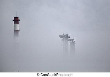 raffinerie, huile, brouillard, cheminée