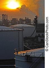 raffinerie, huile, coucher soleil, usine