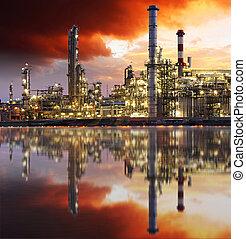 raffinerie, huile, crépuscule