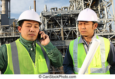 raffinerie, huile, deux, ingénieur