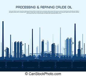 raffinerie, huile, essence