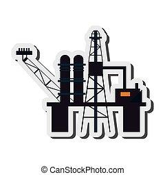 raffinerie, huile, icône