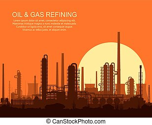 raffinerie, huile, illustration., vecteur, sunset.