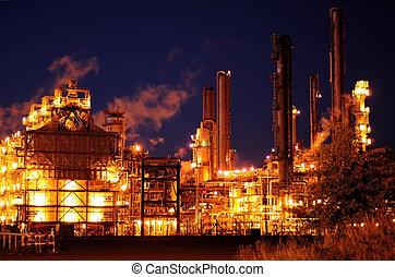 raffinerie, huile, nuit